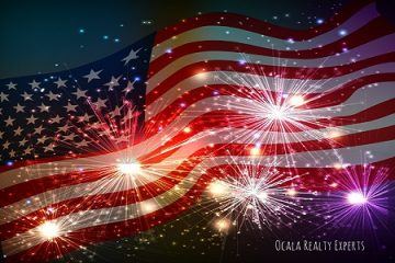 Picture of American Flag with fireworks.